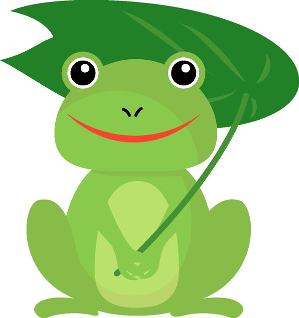 カエルが葉っぱの傘を差すイラスト