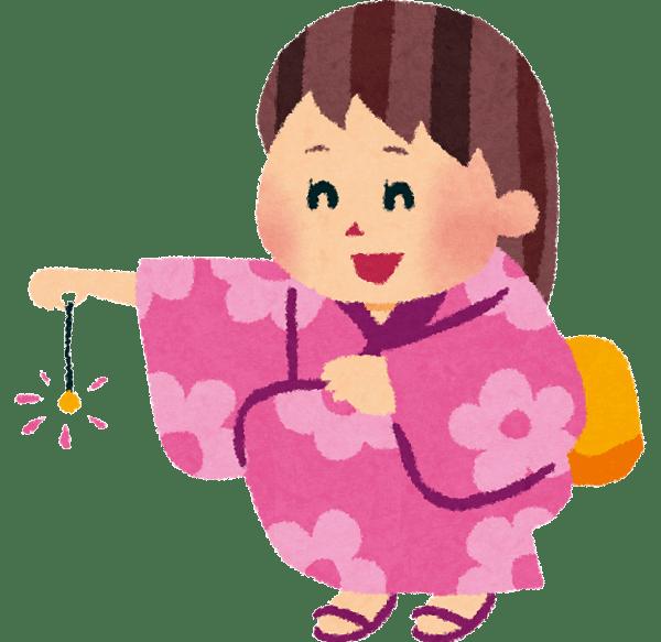浴衣で花火をする女の子のイラスト