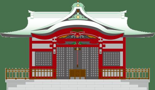 七五三でお参りする神社のイラスト
