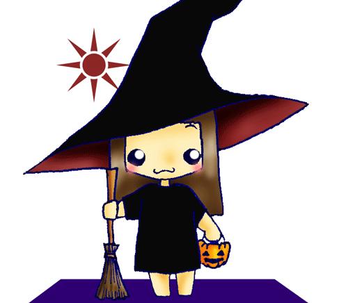 ハロウィンで魔女に仮装する女の子のイラスト