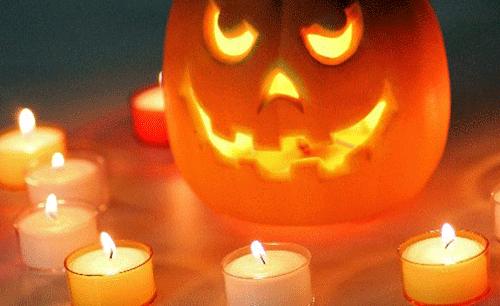 かぼちゃを使ったハロウィンのランタンろうそく