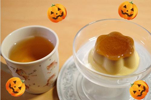 ハロウィン用のかぼちゃのプリンの画像