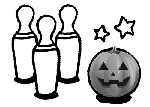 ハロウィンはかぼちゃを使ってボーリングのイラスト