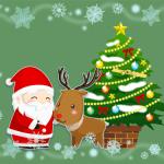 クリスマスツリーとサンタとトナカイのイラスト