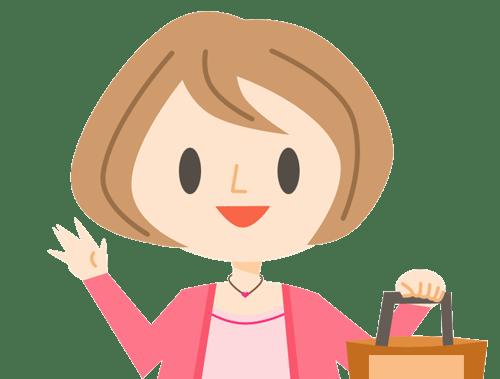 ママと買い物のイラスト