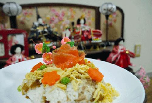 ひな祭りのサケちらし寿司の画像