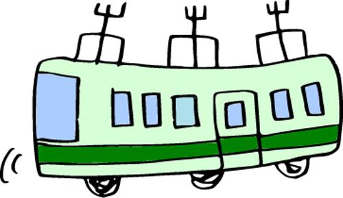 緑色の電車のイラスト