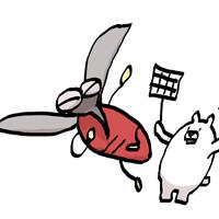 蚊をハエたたきでたたこうとする熊のイラスト