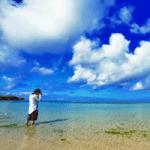 夏の海と男性の画像