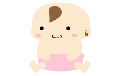 ピンクのオムツをした赤ちゃんのイラスト