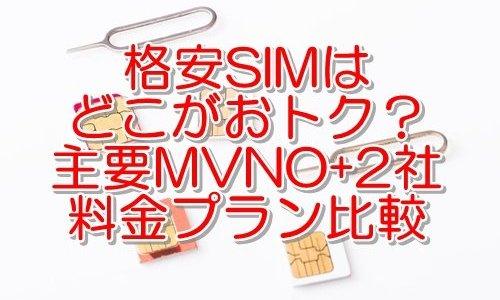 格安SIMの料金プラン比較 主要MVNO+キャリア系2社