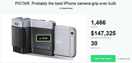 iPhone用カメラグリップ「Pictar」 11月発売へ