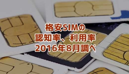 格安SIMの利用率、認知率(2016年8月調べ)