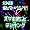2016/12/5~12/11 スマホ売上ランキング P9 liteがiPhone7を押しのけ3位にランクイン!