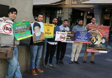 کوئین وکٹوریہ بلڈنگ سڈنی کے سامنے جنت البقیع کی بحالی کیلئے تحریک نفاذ فقہ جعفریہ کا مظاہرہ