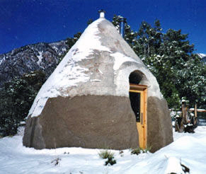 A dome house in winter