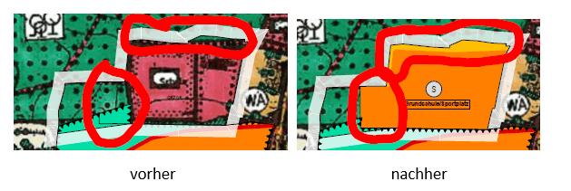 Bild zeigt vorher und nachher Ausschnitte aus dem Bebauungsplan mit Markierung des zu rodenden Waldes