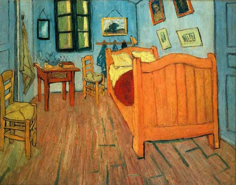Title: Bedroom in Arles Artist Vincent van Gogh Year 1888 Type Oil on canvas Dimensions 72 cm × 90 cm (28.3 in × 35.4 in) Location Van Gogh Museum, Amsterdam