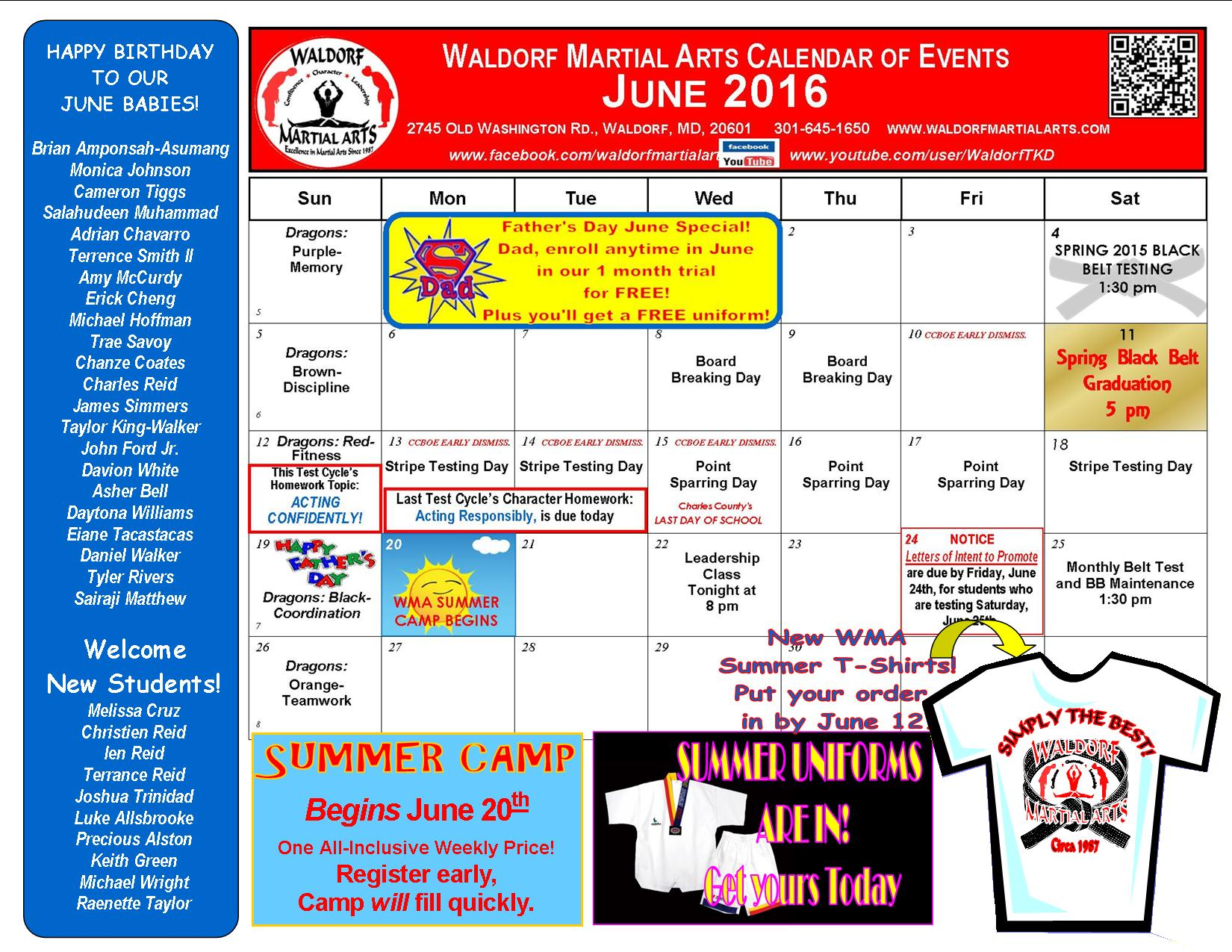 Here's your June 2016 Waldorf Martial Arts Calendar of Events