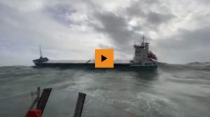 Watch as three lifeboats battle heavy seas to save cargo vessel