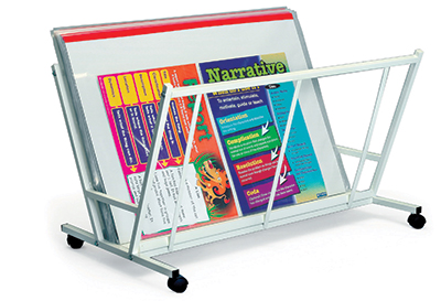 mobile metal poster rack with sleeves