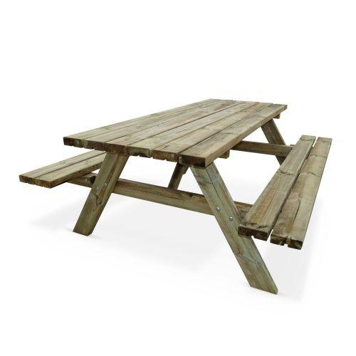 table de pique nique 180 cm bois 6 places panchina
