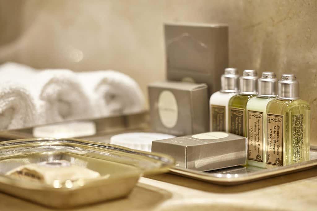 Hotel shampoo bottles