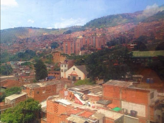 view from cable cars in medellin colombia
