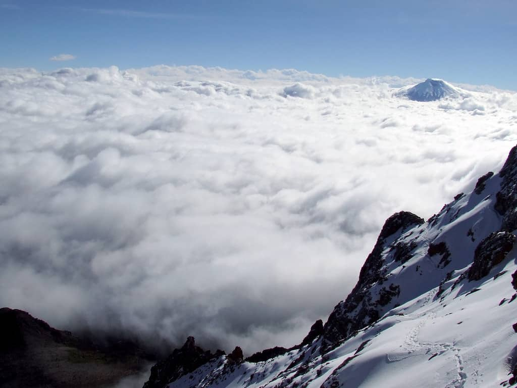 View of the path up Cotopaxi Volcano