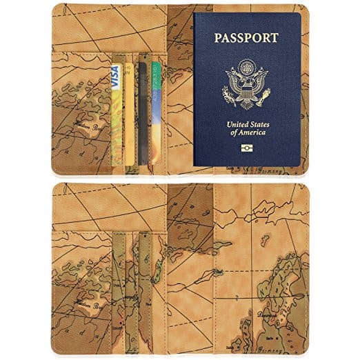 Leather passport holder and RFID wallet