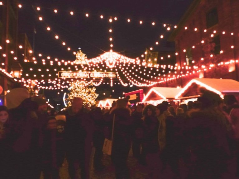 Lights at the Toronto Christmas Market one of the best places to spend Christmas in Ontario