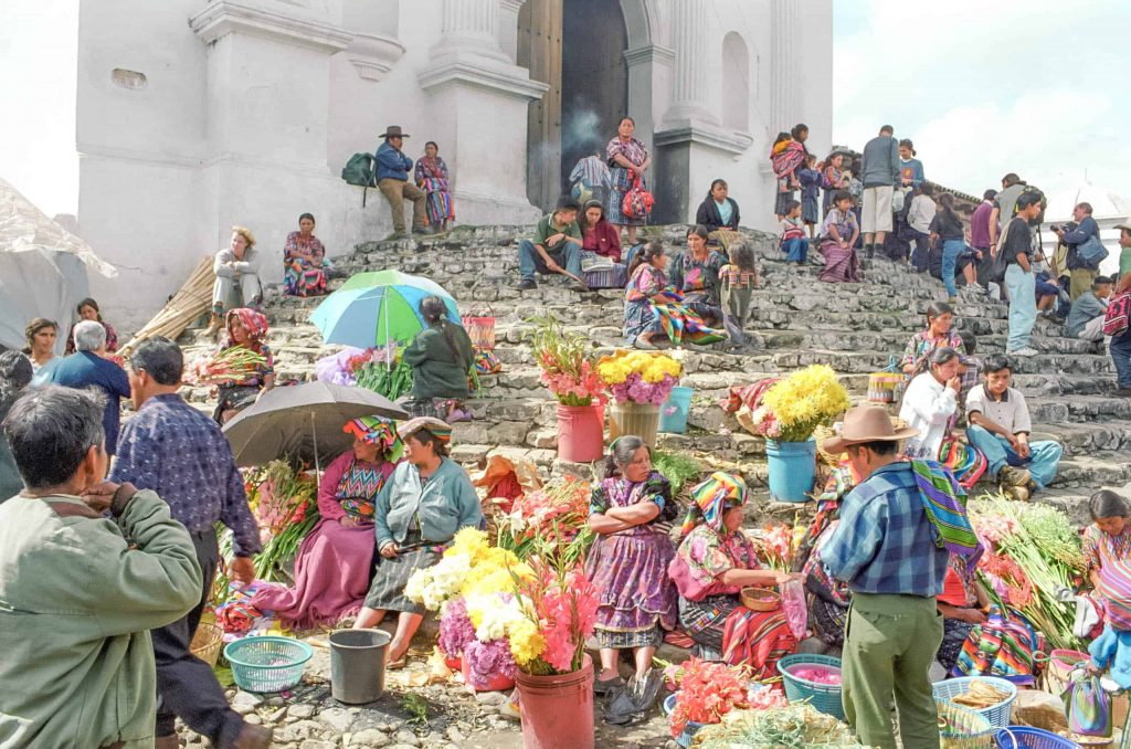 Church steps at chichicastenango market guatemala