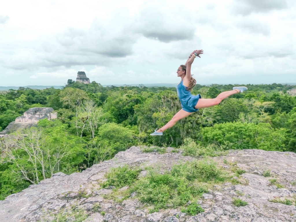 jumping on the top of one of the tikal pyramids