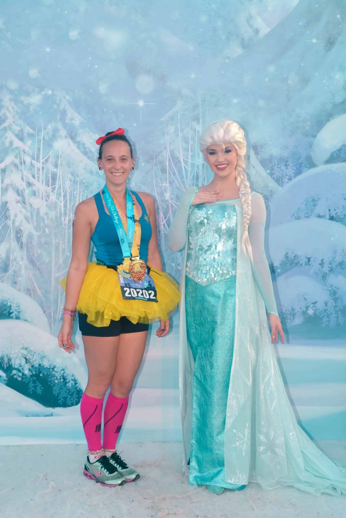 disney princess half marathon finisher photo elsa