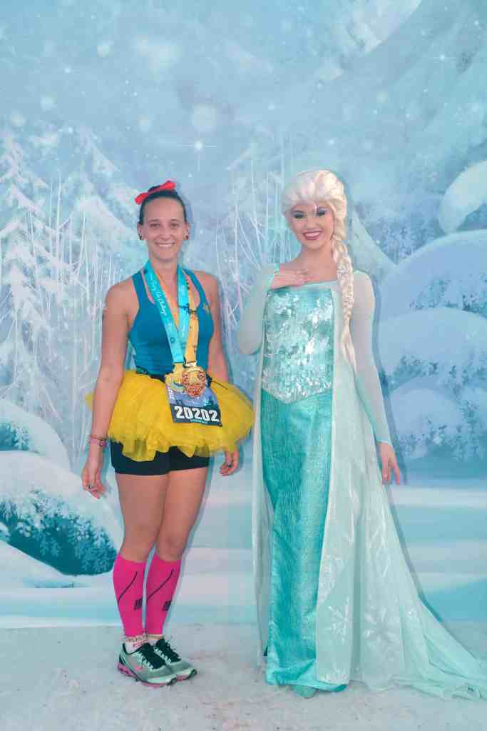 disney princess half marathon finisher photo elsa