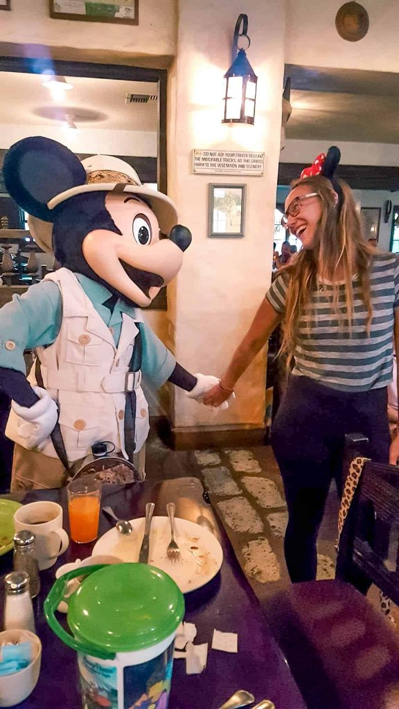 meeting mickey mouse at tusker house breakfast in animal kingdom disney world adults only