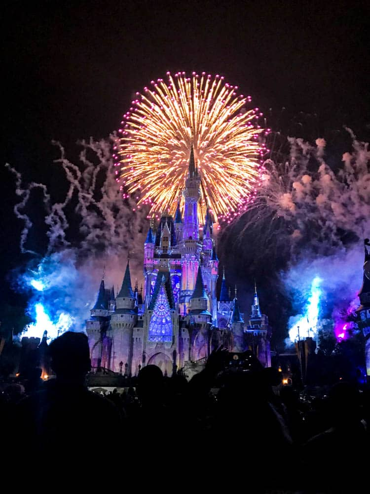 watching the magic kingdom fireworks from main street at walt disney world