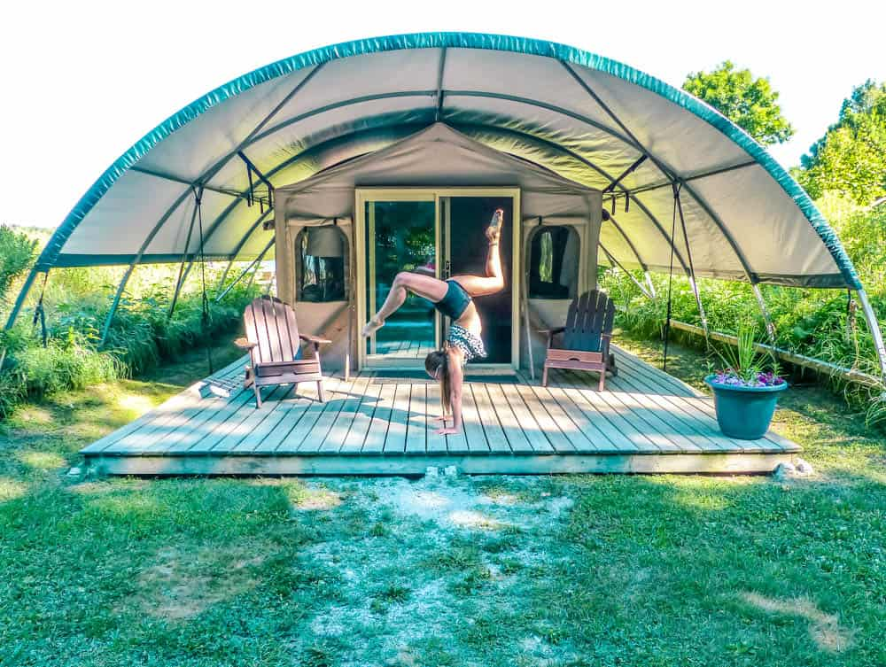 outside a wilderness suite glamping in ontario at long point eco adventures