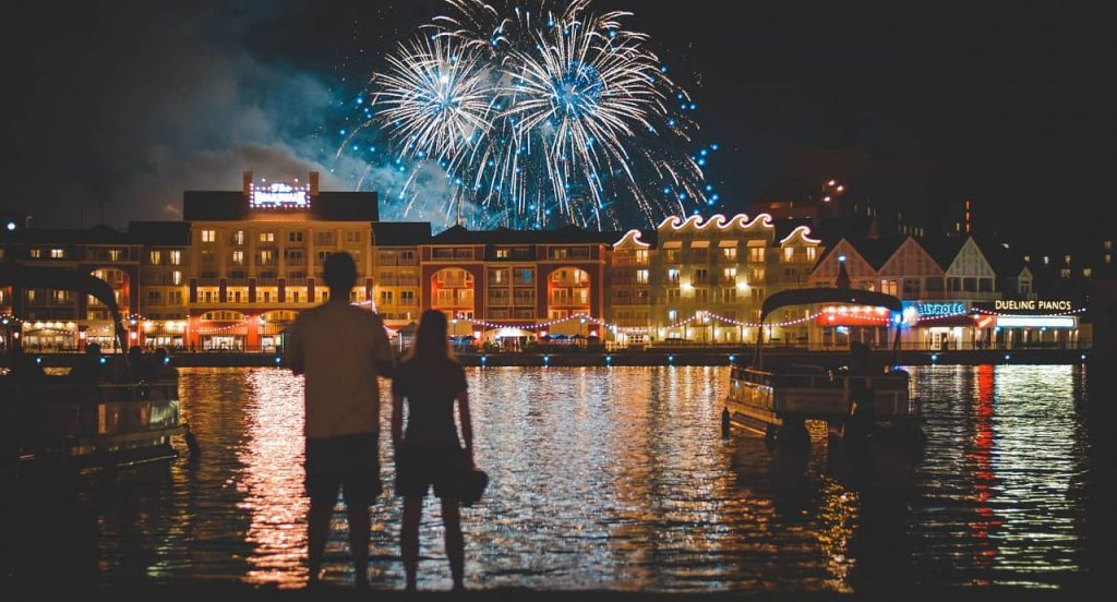 Watching epcot fireworks for the board walk outside of epcot at walt disney world