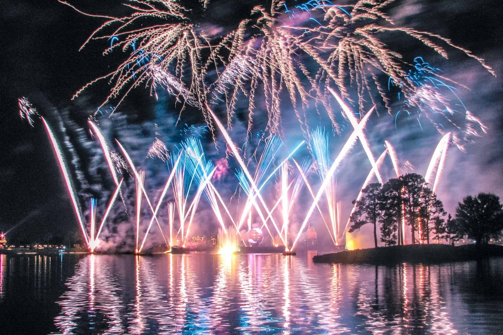 Watching Epcot illuminations at walt disney world theme park in orlando florida
