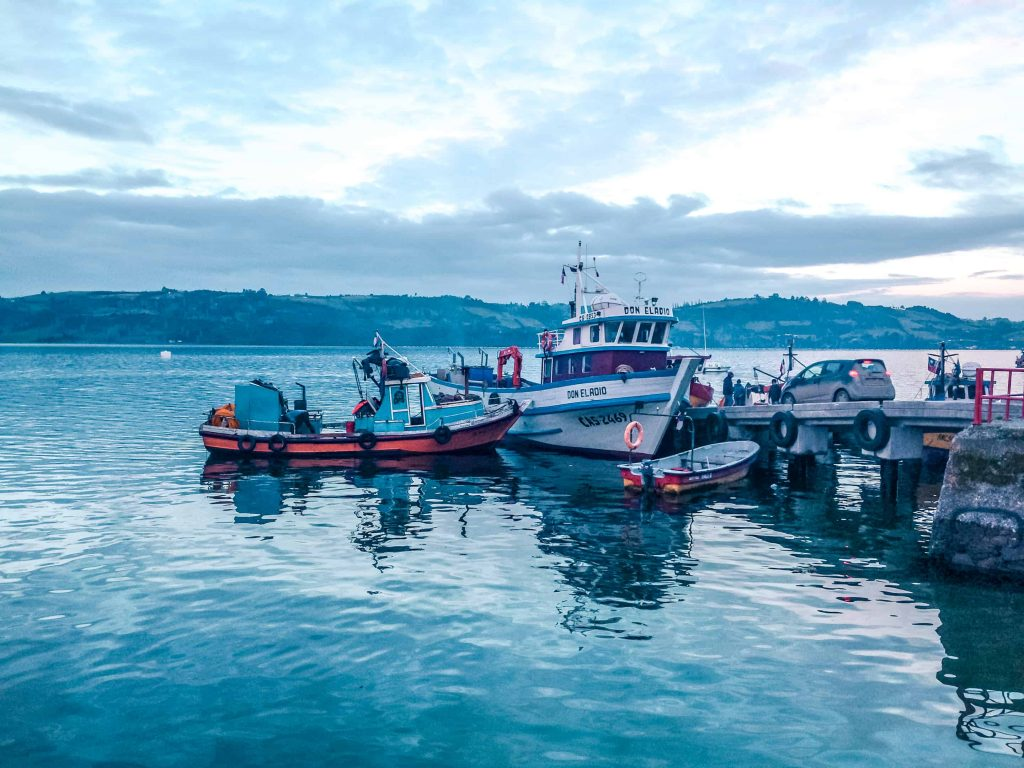 fishing boats on chiloe island