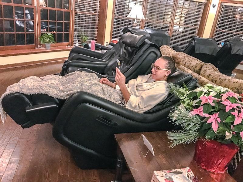 massage chairs in Ste. Anne's Spa's quiet room