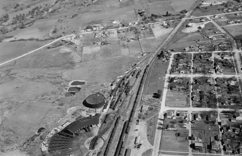 Ashland, railroad, aerial view