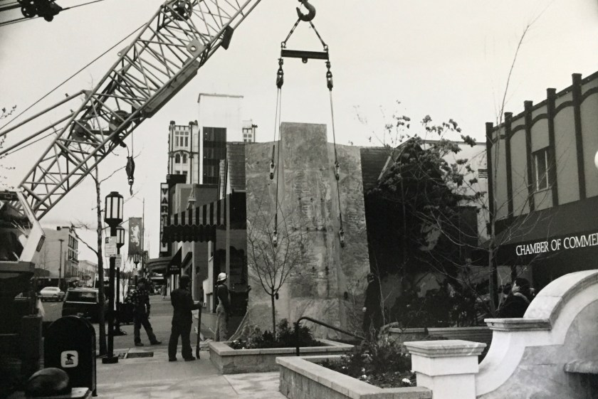 Installation of the concrete wall that Street Scene is attached to.