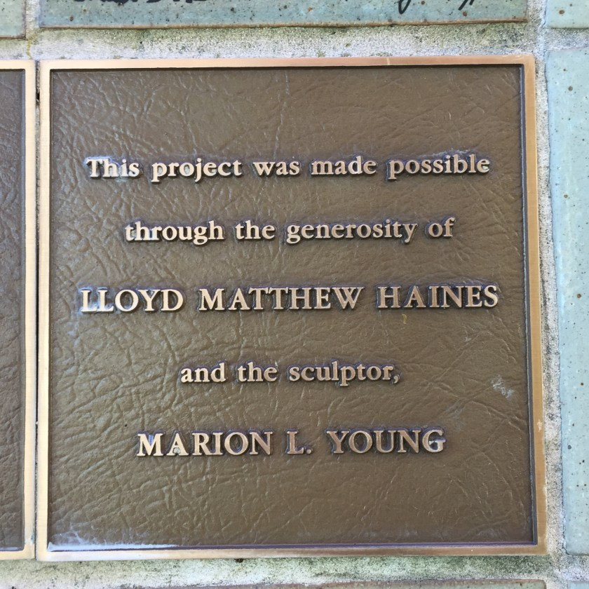 Lloyd Matthew Haines and Marion Young recognized, Street Scene sculpture