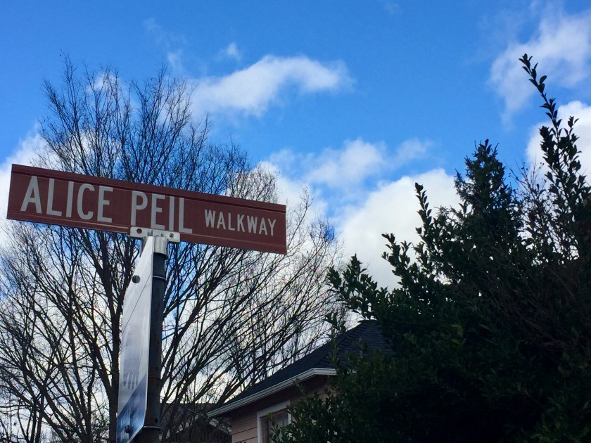 """Alice Peil Walkway"" sign"