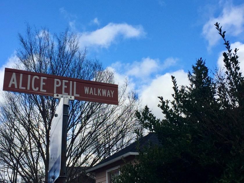 """Alice Peil Walkway"" sign"