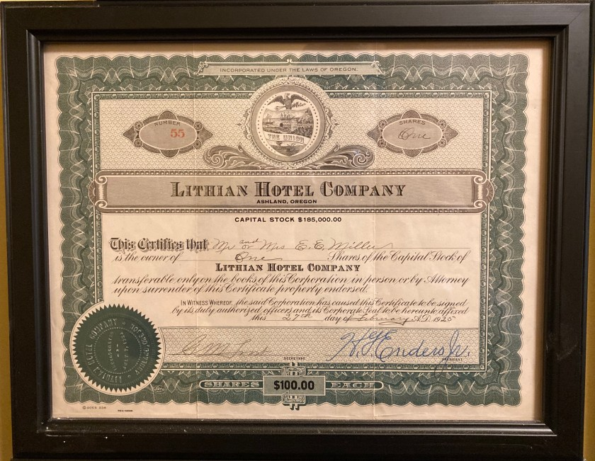 Ashland Springs Hotel, stock certificate c1924 for Lithia Springs Hotel