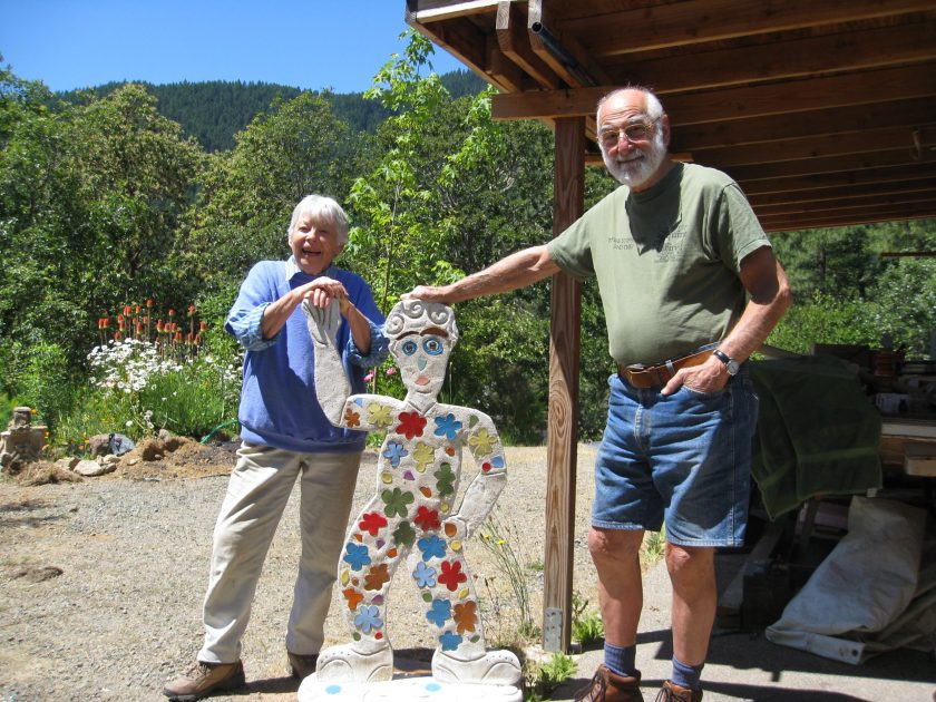 Lilli Ann and Marvin Rosenberg with sculpture by Jeremy Criswell, 2008