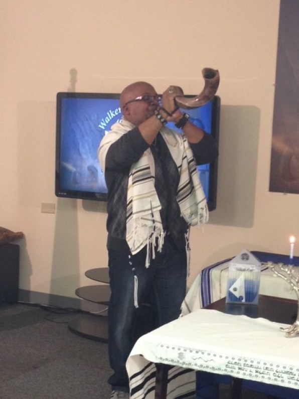 Pastor Rod blowing the Shofar at out Festival of Lights.